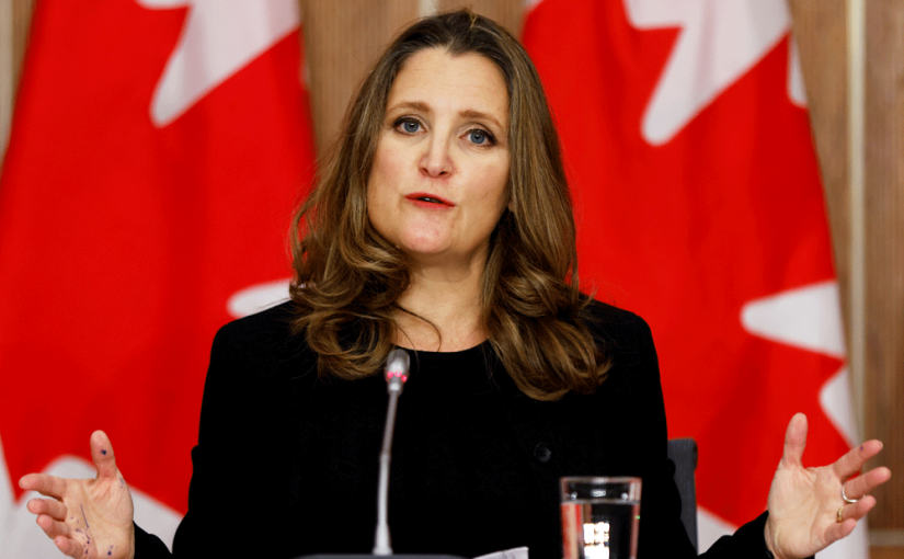 Industry groups call on Freeland to abandon $100B stimulus plan in light of improved jobs market